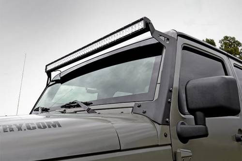 Lighting - Light Mounts / Brackets - Rough Country Suspension - 70504 | 50 Inch Straight LED Light Bar Upper Windshield Mount | JK