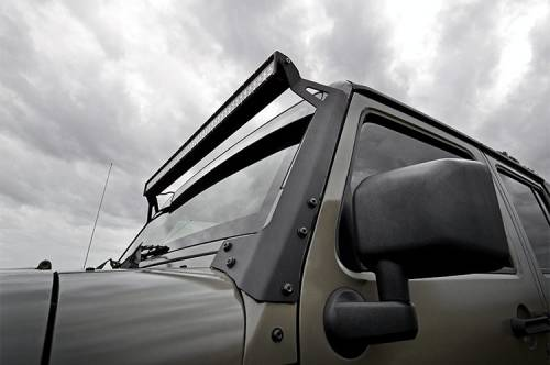 Rough Country Suspension - 70504 | Jeep 50-inch Straight LED Light Bar Upper Windshield Mounts (07-18 Wrangler JK) - Image 3