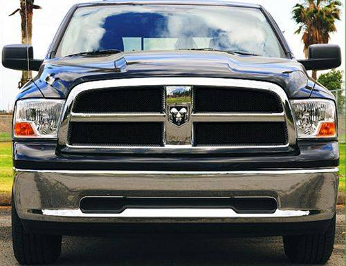 Exterior - Mesh & Wire Grilles - T-Rex Billet - 2009-2012 Dodge Ram 1500 Pickup - Sport Series Formed Mesh Grille - ALL Black Powdercoat - 4 pc