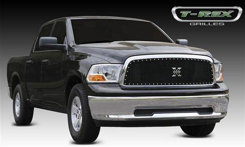 Exterior - Mesh & Wire Grilles - T-Rex Billet - 2009-2012 Dodge Ram 1500 Pickup - X-METAL Series - Studded Main Grille - Custom 1 pc Opening (Requires Cutting center Bars) - ALL Black