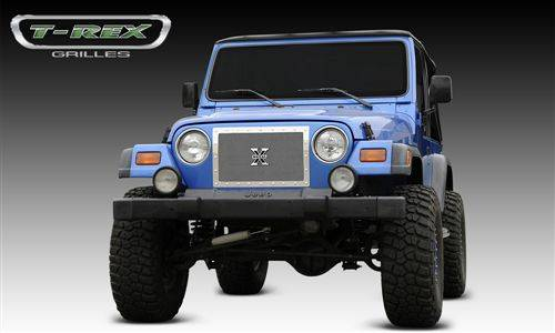 T-Rex Billet - 1997-2006 Jeep Wrangler - X-METAL Series - Studded Main Grille - Polished SS - 1 pc Custom (Cut Center Bars)