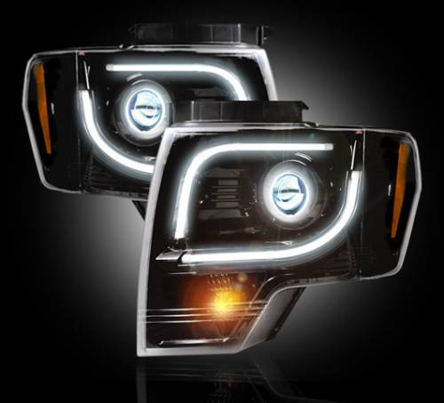 Lighting - Headlights - Recon Truck Accessories - 264273BK | Smoked Projector Headlight - w/ OEM Projectors