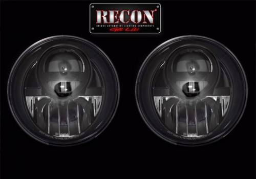 Lighting - Headlights - Recon Truck Accessories - 264274BK | LED Projector Headlights | Smoked/Black