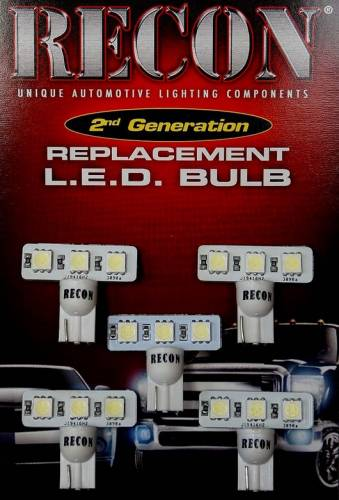 Recon Truck Accessories - 194 Type 3-Watt High Port LED Bulbs in White - 5 Pack