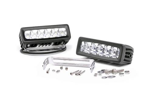 Just Jeeps - JK Wrangler - Rough Country Suspension - 70806 | 6 Inch Adjustable Base Mount Cree LED Light Bar (Pair)