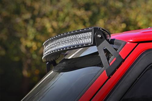 Lighting - Light Mounts / Brackets - Rough Country Suspension - 70517 | 50 Inch Curved LED Light Bar Upper Windshield Mount (XJ)