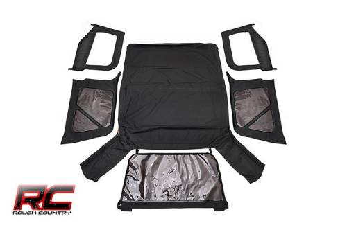 Exterior - Relpacement Tops - Rough Country Suspension - 1997-2006 Jeep TJ (Half Steel Doors) Replacement Soft Top - Black Denim