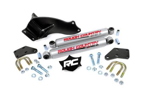 Suspension Components - Steering Stabilizers - Rough Country Suspension - Dodge Dual Steering Stabilizer