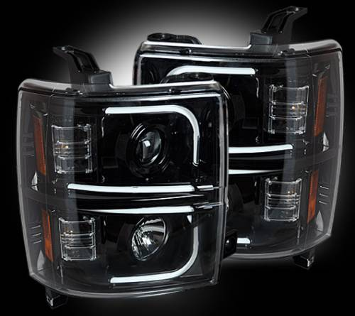 Lighting - Headlights - Recon Truck Accessories - 264296BKC | Projector Headlights | Smoked