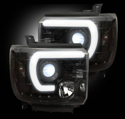 Lighting - Headlights - Recon Truck Accessories - 264295BKC | Projector Headlights | Smoked/Black