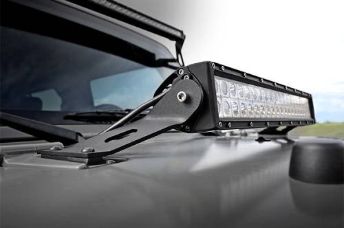 Lighting - Light Mounts / Brackets - Rough Country Suspension - 70533 | Jeep 20 Inch LED Light Hood Mounts