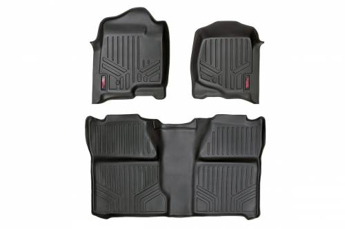 Interior - Floor Mats & Cargo Liners - Rough Country Suspension - 2007-2014 Chevrolet, GMC Silverado Sierra Heavy Duty Floor Mats - Ext Cab
