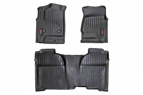 Interior - Floor Mats & Cargo Liners - Rough Country Suspension - M-21142 | Heavy Duty Front & Rear Floor Mats | Double Cab, Half Length Floor Console
