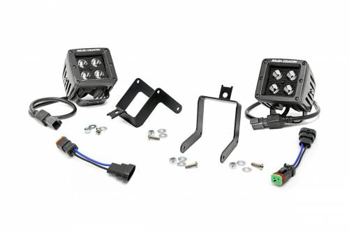 Lighting - LED & Off Road Lights - Rough Country Suspension - 70622 | 2 Inch Cree LED Fog Light Kit | Black Series