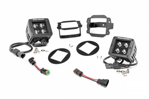 Lighting - Driving & Running Lights - Rough Country Suspension - 70623 | Jeep 2 Inch Cree LED Fog Light Kit | Black Series