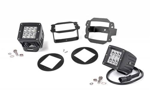 JK Wrangler - JK Lighting - Rough Country Suspension - 70615 | Jeep 2 Inch Cree LED Fog Light Kit | Chrome Series