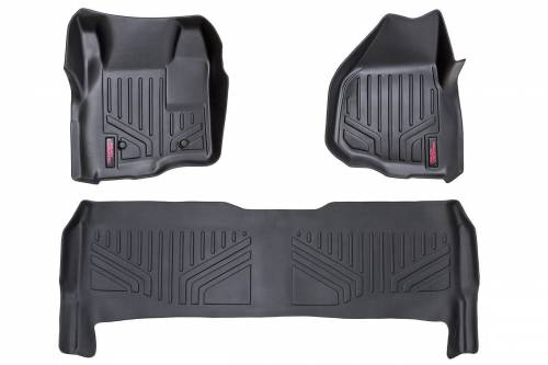Interior - Floor Mats & Cargo Liners - Rough Country Suspension - M-51223 | Heavy Duty Front & Rear Floor Liners | Crew Cab, Depressed Pedal