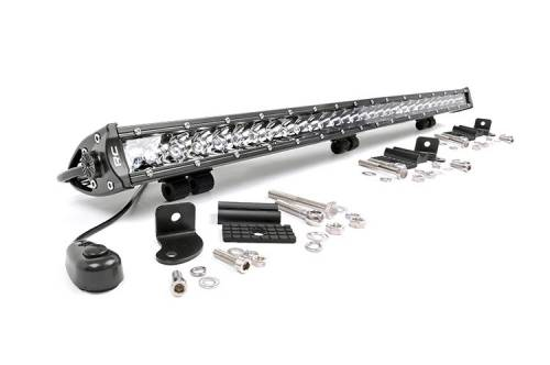Just Jeeps - YJ Wrangler - Rough Country Suspension - 70730 |  30 Inch Cree LED Light Bar - Single Row | Chrome Series