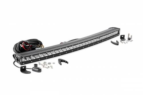 Just Jeeps - JK Wrangler - Rough Country Suspension - 72730 |  30 Inch Curved Cree LED Light Bar - Single Row | Chrome Series