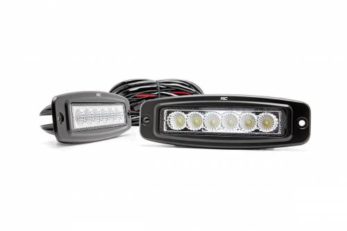 Just Jeeps - JK Wrangler - Rough Country Suspension - 70916 | 6 Inch Flush Mount Cree LED Light Bars - Pair