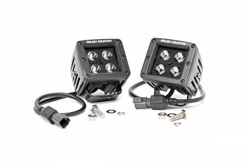 Just Jeeps - WJ Grand Cherokee - Rough Country Suspension - 70903BL |  2 Inch Square Cree LED Lights - Pair | Blacxk Series