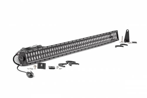 Just Jeeps - YJ Wrangler - Rough Country Suspension - 70950BL | 50 Inch Cree LED Light Bar - Dual Row | Black Series