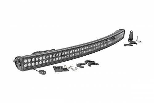 Just Jeeps - JK Wrangler - Rough Country Suspension - 72950BL | 50 Inch Curved Cree LED Light Bar - Dual Row | Black Series