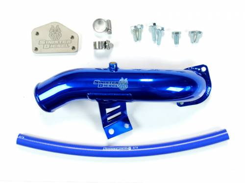 Sinister Diesel - 2004.5-2005 Chevrolet, GMC 2500 HD, 3500 HD 6.6L LLY EGR Delete Kit - With Intake Tube