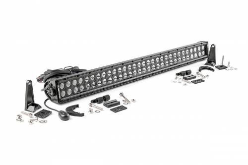 Just Jeeps - JK Wrangler - Rough Country Suspension - 70930BL | 30 Inch Cree LED Light Bar - Dual Row | Blacke Series