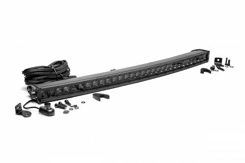 Just Jeeps - YJ Wrangler - Rough Country Suspension - 72730BL |  30 Inch Curved Cree LED Light Bar - Single Row | Black Series