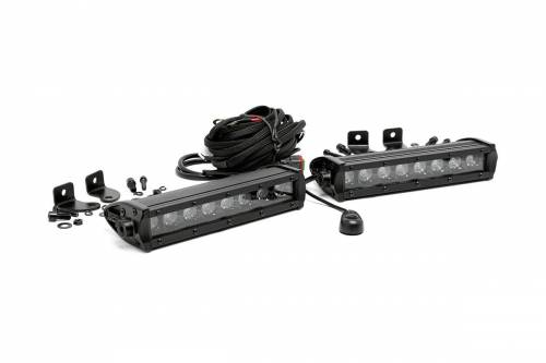 Just Jeeps - JK Wrangler - Rough Country Suspension - 70728BL | 8 Inch Cree LED Light Bar | Pair - Black Series
