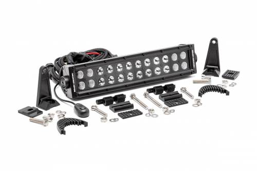 Just Jeeps - ZJ Grand Cherokee - Rough Country Suspension - 70912BL | 12 Inch Cree LED Light Bar - Dual Row | Black Series