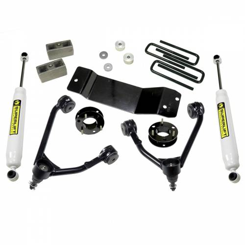 SuperLift - 3600 | 3.5 Inch GM Suspension Lift Kit w/ Superide Shocks | Aluminum or Stamped Steel Control Arms