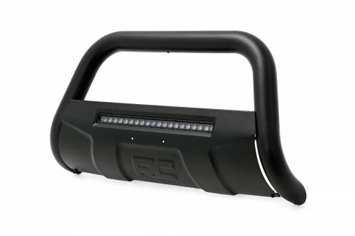Exterior - Bull Bars - Rough Country Suspension - B-T4051 | Black Bull Bar with Intgrated Black Series 20 Inch LED Light Bar