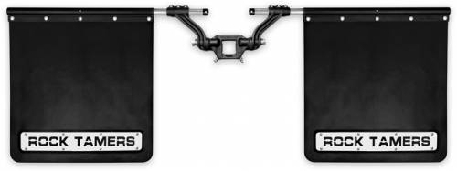 "Tow & Haul - Racks & Accessories - Rock Tamers - Rock Tamers 2"" Hub Mudflap System Matte Black/Stainless Steel Trim Plates"