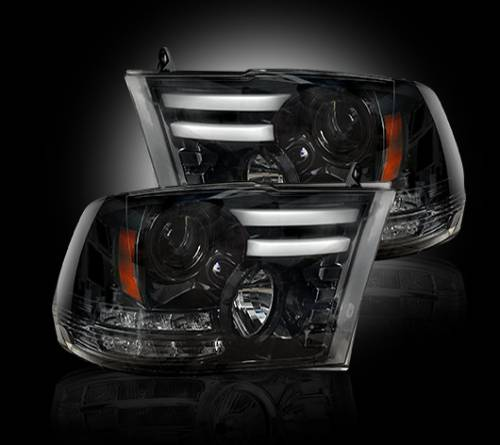 Lighting - Headlights - Recon Truck Accessories - 264276BKC | Projector Headlight | Smoked / Black