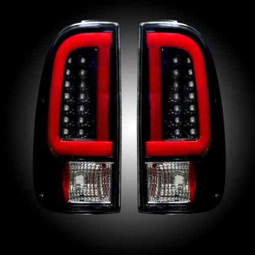 Lighting - LED Taillights - Recon Truck Accessories - 1999-2007 Ford Super Duty, 1997-2003 F150 Style Side LED Tail lights | Smoked