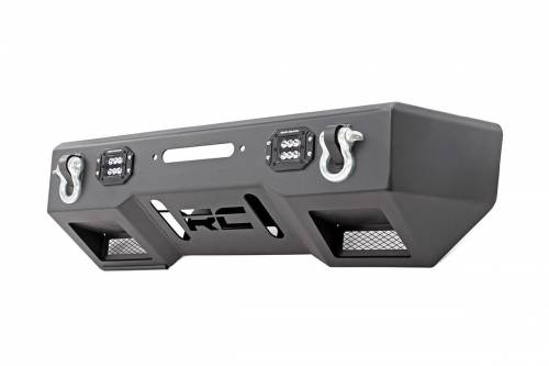 Exterior - Bumpers & Tire Carriers - Rough Country Suspension - 11831 | Front Stubby LED Winch Bumper | Black Series Lights