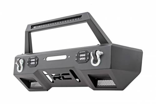 JK Wrangler - JK Bumpers - Rough Country Suspension - 11826 | Front Stubby LED Winch Bumper with LED Hoop Bar  | Black Series Lights