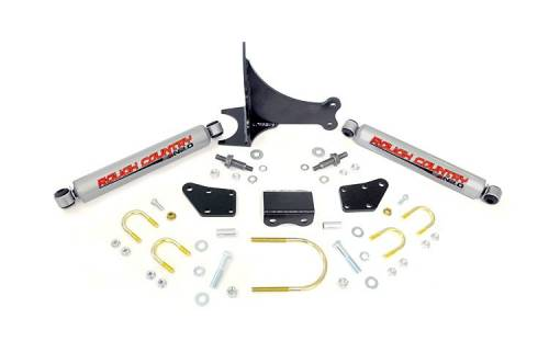 Suspension Components - Steering Stabilizers - Rough Country Suspension - 87491.20 | Ford Dual N2.0 Steering Stabilizer