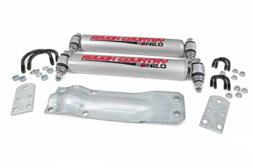 Suspension Components - Steering Stabilizers - Rough Country Suspension - 87356.20 | N2.0 Dual Steering Stabilizer