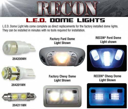 Interior - Interior Lights - Recon Truck Accessories - 264166 | LED Dome Light Replacement Kit