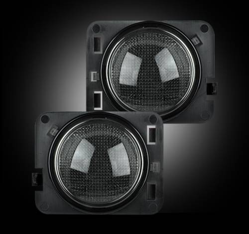 JK Wrangler - JK Lighting - Recon Truck Accessories - 264134BK | Jeep Smoked with Amber LED Front Turn Signals