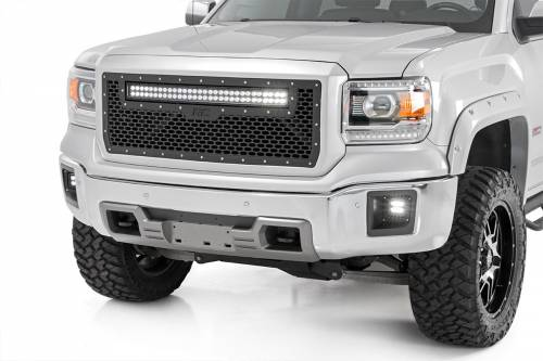 Exterior - Custom Grilles - Rough Country Suspension - 70190 | GMC Mesh Grille with 30 Inch Dual Row Black Series LED