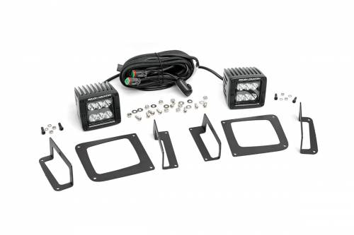 Lighting - LED & Off Road Lights - Rough Country Suspension - 70689 | GMC 2 Inch Cree LED Fog Light Kit | Black Series