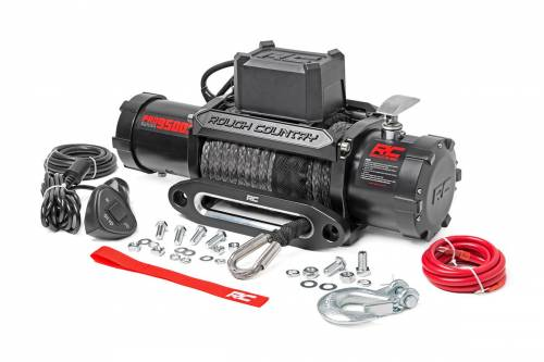 Exterior - Bumpers & Tire Carriers - Rough Country Suspension - PRO9500S | 9500 lb. Pro Series Electric Winch | Synthetic Cable