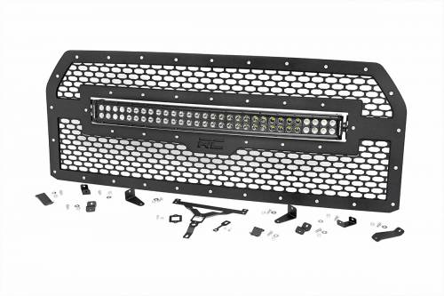 Exterior - Custom Grilles - Rough Country Suspension - 70193 | Ford Mesh Grille with 30 Inch Dual Row Black Series LED Lights