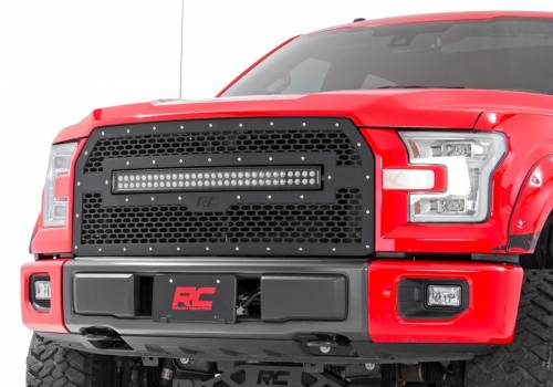 Exterior - Custom Grilles - Rough Country Suspension - 70193 | Ford Mesh Grille with 30 Inch Dual Row Black Series LED