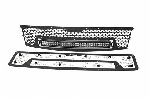 Exterior - Custom Grilles - Rough Country Suspension - 70196 | Chevrolet Mesh Grille with 30 Inch Dual Row Black Series LED Lights