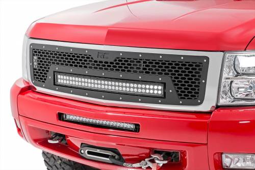 Exterior - Custom Grilles - Rough Country Suspension - 70196 | Chevrolet Mesh Grille with 30 Inch Dual Row Black Series LED